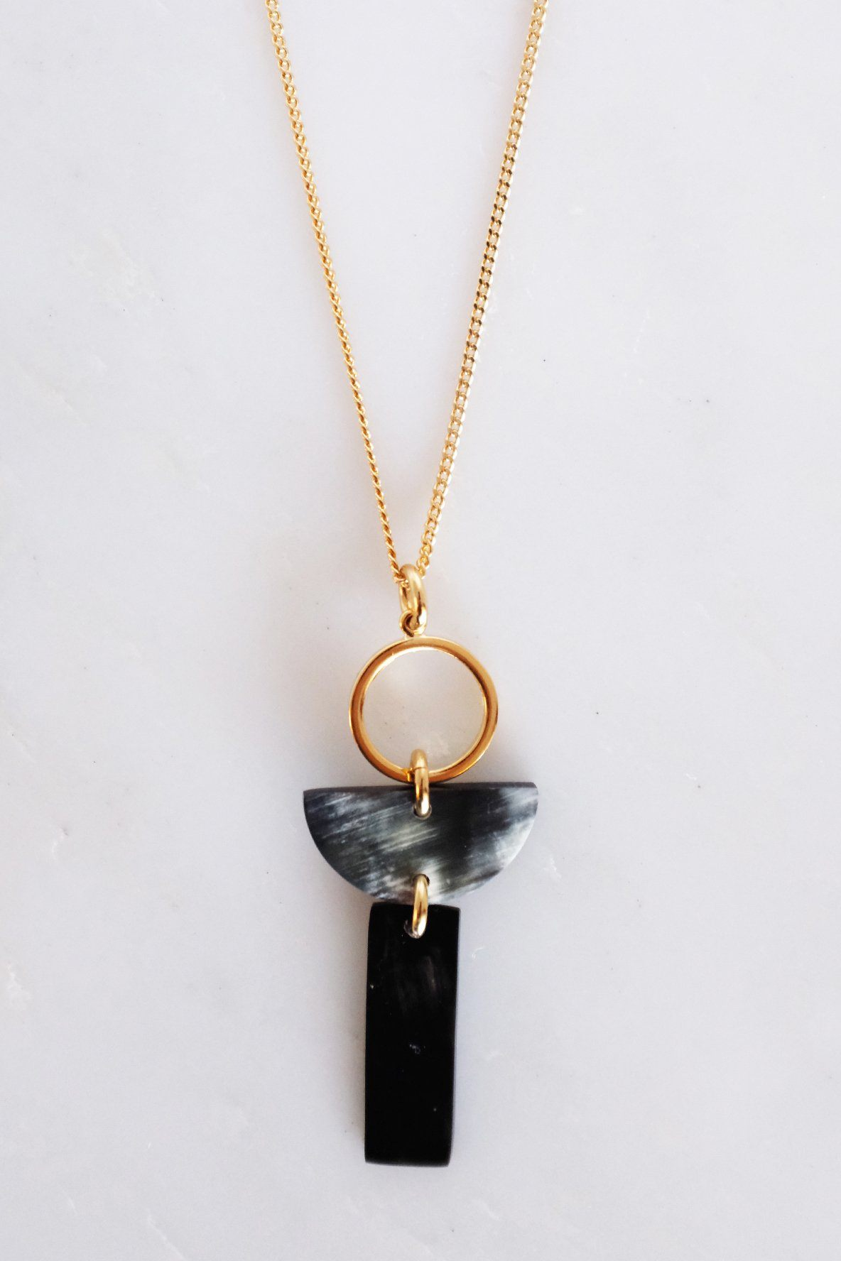 Con Dao II Geo Buffalo Horn Pendant Necklace - Handcrafted & Unique Buffalo Horn Jewelry