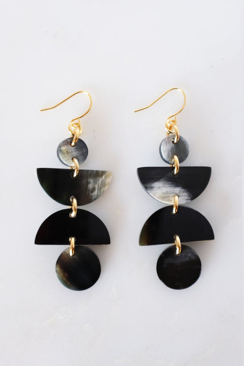 Ha Giang Geometric Buffalo Horn Dangle Earrings - Handcrafted & Unique Buffalo Horn Jewelry