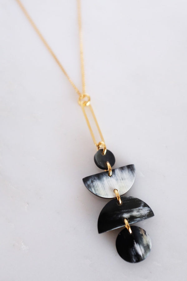 Ha Giang Geometric Buffalo Horn Long Pendant Necklace - Handcrafted & Unique Buffalo Horn Jewelry