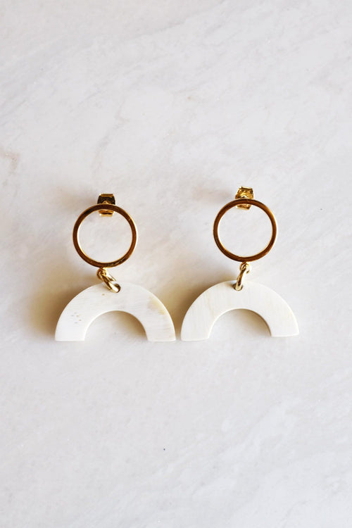 Hanh Tinh Geo Icon Buffalo Horn Post Earrings - Handcrafted & Unique Buffalo Horn Jewelry