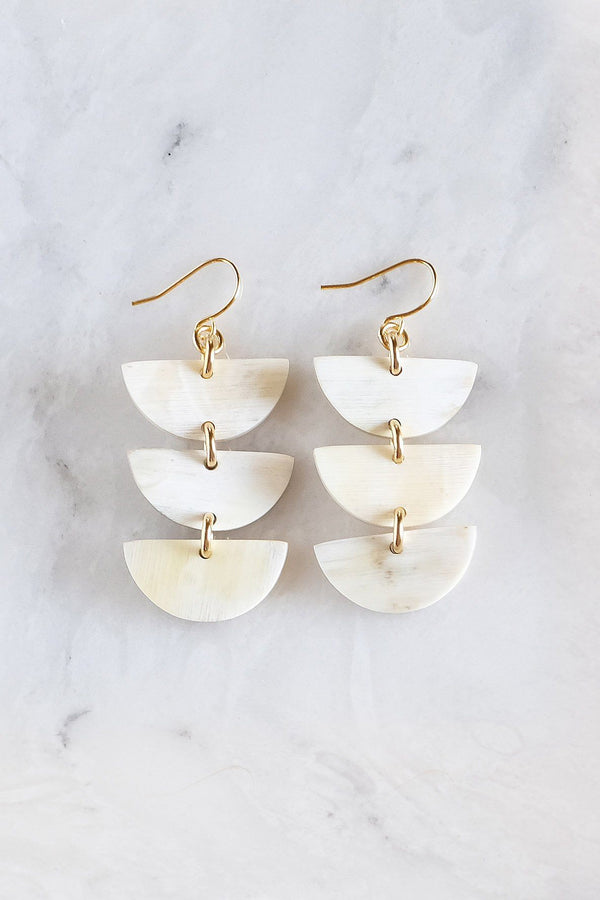 Hanoi Triple Crescent Buffalo Horn Earrings - Handcrafted & Unique Buffalo Horn Jewelry