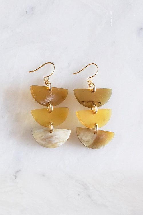 Hanoi 16K Gold Plated Triple Crescent Stacked Buffalo Horn Earrings - Handcrafted & Unique Buffalo Horn Jewelry