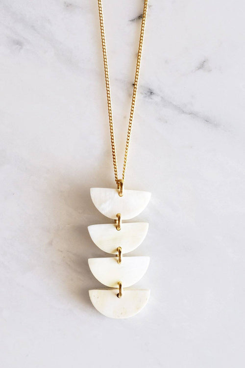 Hanoi Crescent Stacked Buffalo Horn Pendant Necklace - Handcrafted & Unique Buffalo Horn Jewelry