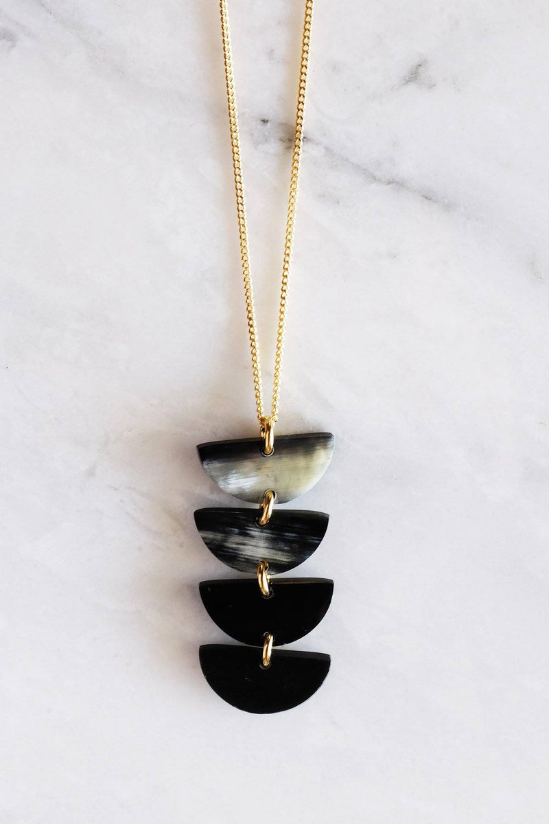 Hanoi Crescent Buffalo Horn Pendant Necklace - Handcrafted & Unique Buffalo Horn Jewelry