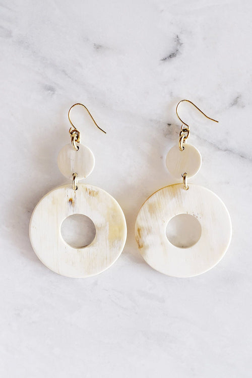 Hoan Toan 16K Gold-Plated Brass Buffalo Horn Donut Dangle Earrings - Handcrafted & Unique Buffalo Horn Jewelry