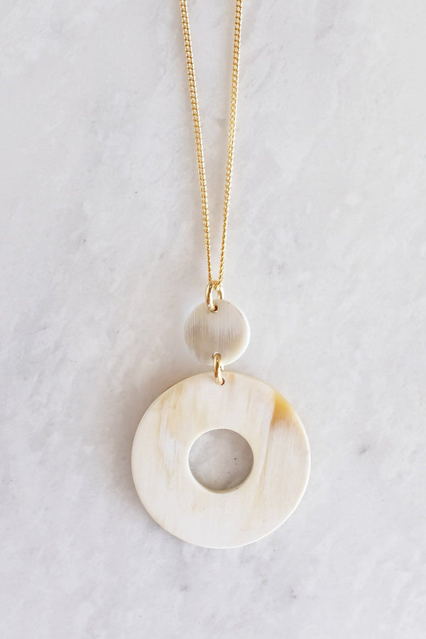Hoan Toan Donut Buffalo Horn Pendant Necklace - Handcrafted & Unique Buffalo Horn Jewelry
