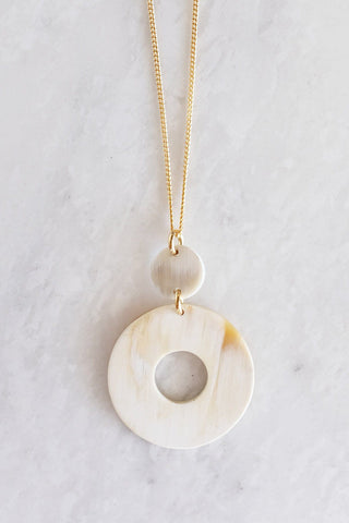 Vui Mung Geometrical Buffalo Horn Pendant Necklace