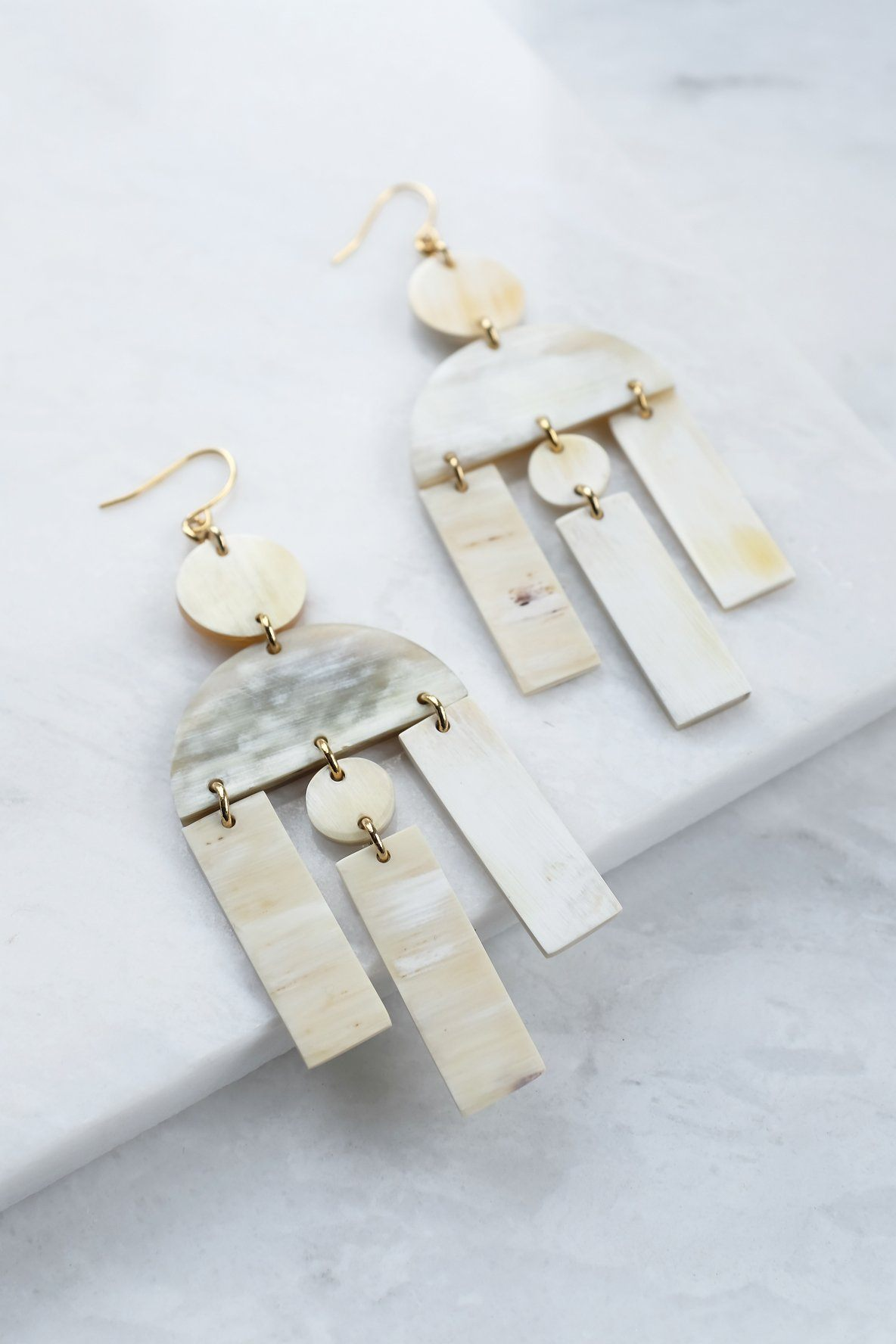 Hoang Hau 16K Gold-Plated Brass Buffalo Horn Geometric Statement Earrings - Handcrafted & Unique Buffalo Horn Jewelry