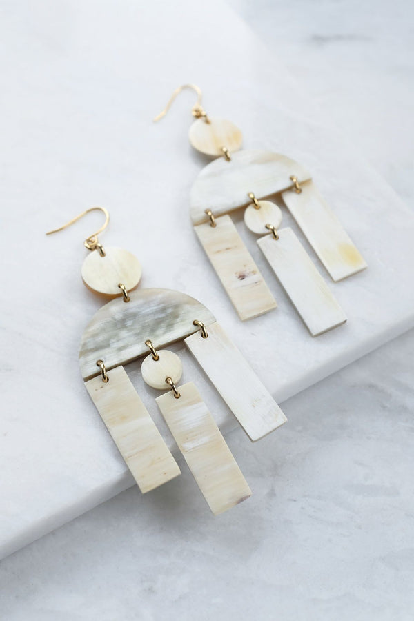 Hoang Hau Buffalo Horn Chandelier Statement Earrings - Handcrafted & Unique Buffalo Horn Jewelry
