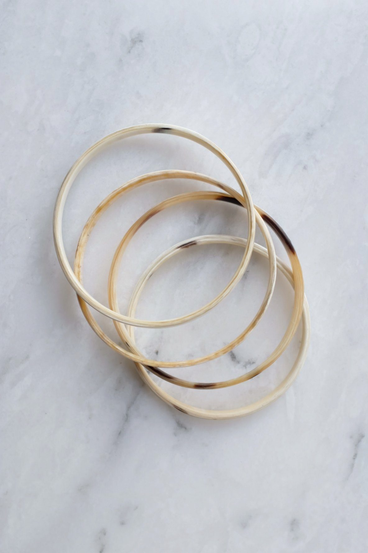 Sa Pa Minimal Genuine Buffalo Horn Bangle Bracelets, Set of 4 - Handcrafted & Unique Buffalo Horn Jewelry