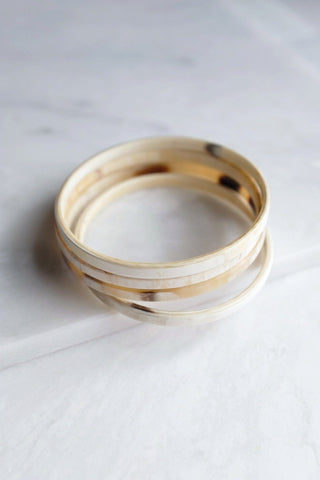 Sa Pa Simple 4 Stack Milk-Colored Horn Bangle Bracelets