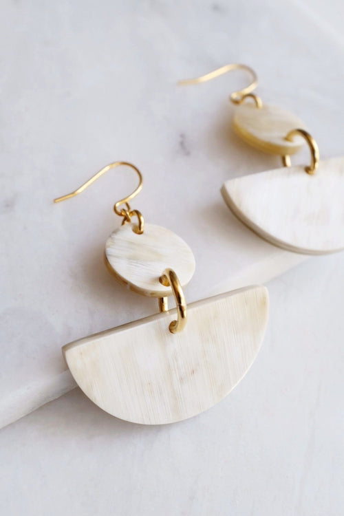 Yang Bay 16K Gold Plated White Buffalo Horn Minimal Statement Earrings - Handcrafted & Unique Buffalo Horn Jewelry