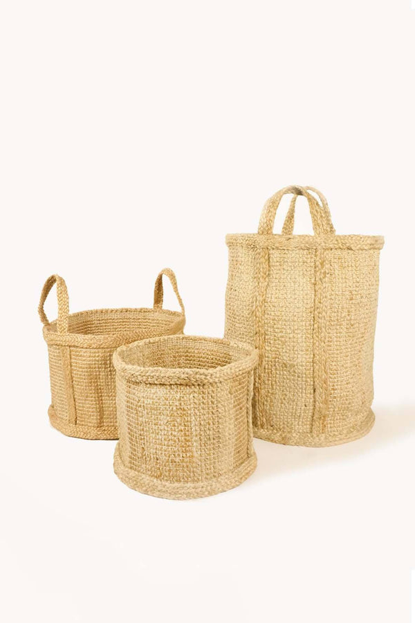 Korissa Bono Natural Jute Baskets - Handcrafted & Unique Buffalo Horn Jewelry