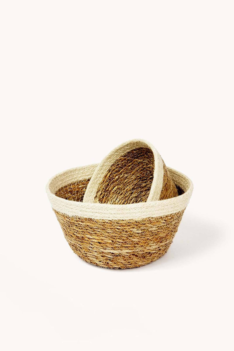 Korissa Savar Handwoven Jute & Seagrass Plant Bowls - Handcrafted & Unique Buffalo Horn Jewelry