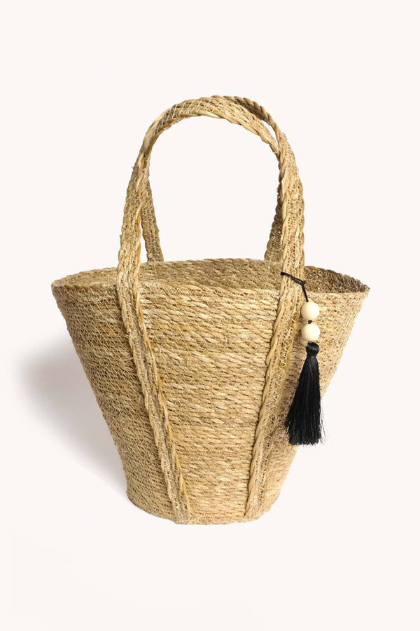 Korissa Savar Handwoven Seagrass Tote Bag - Handcrafted & Unique Buffalo Horn Jewelry