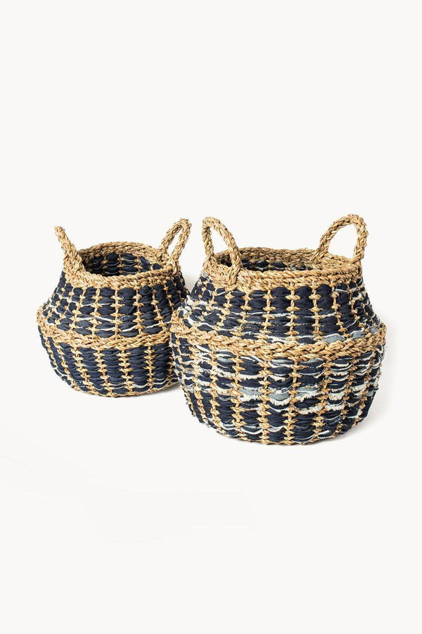Daya Handwoven Recycled Denim and Jute Foldable Basket (Set of 2)