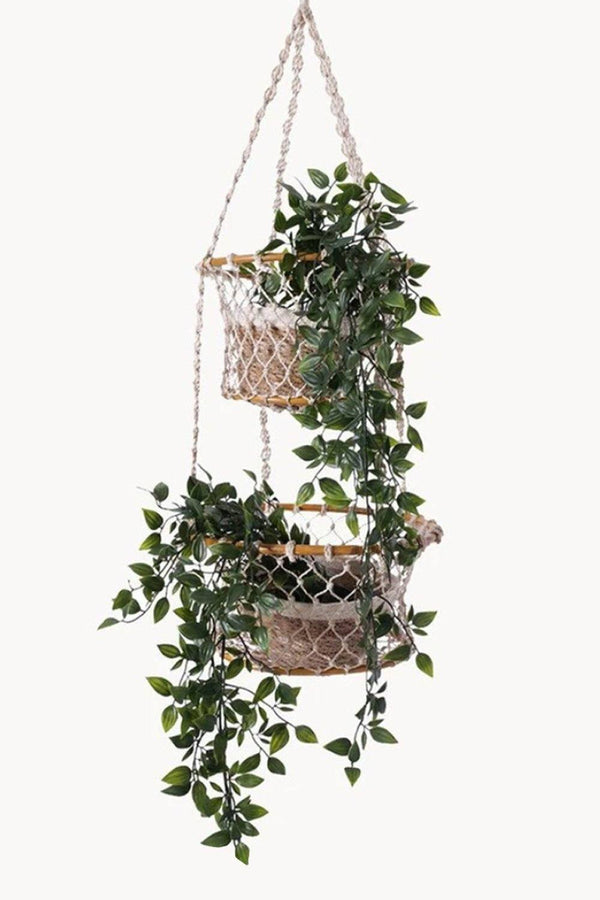 Jhuri Double Hanging Wood and Braided Jute Baskets