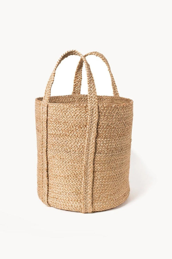 Kata Hand-Braided Jute Basket with handle - Natural