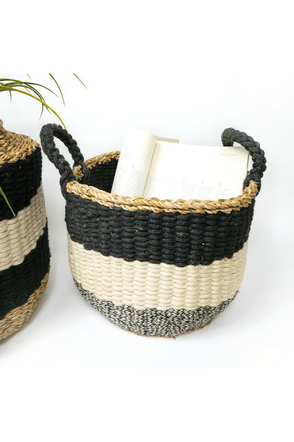 Ula Handwoven Jute Wool Stripe Basket - Black