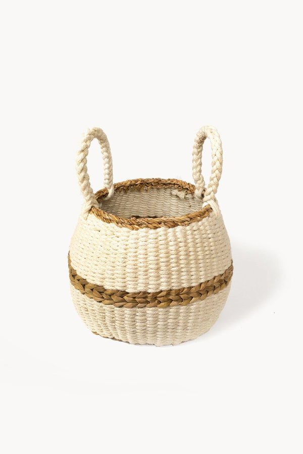 Ula Handwoven Jute Wool Blanco Basket