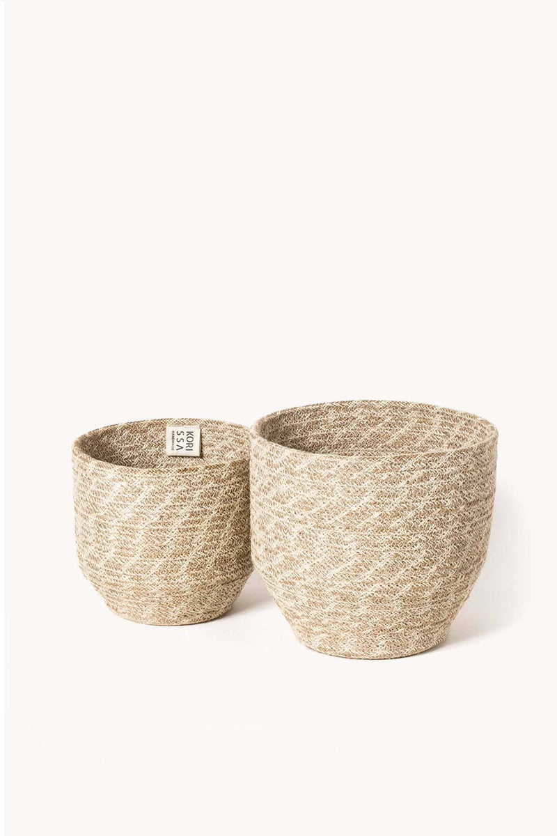 Korissa Agora Handwoven Jute Bin Planter Baskets - Handcrafted & Unique Buffalo Horn Jewelry