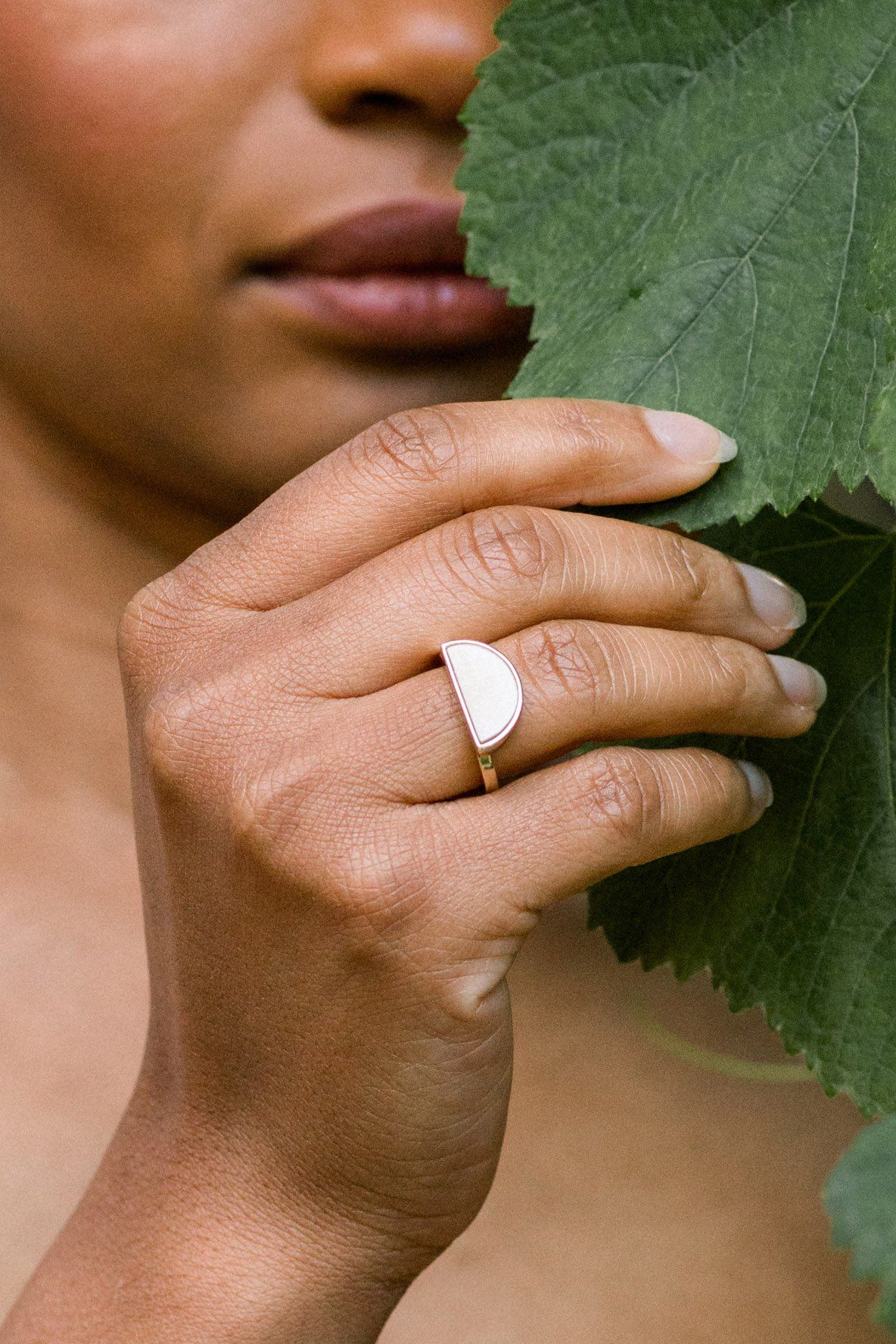 Mat Trang 16K Gold-Plated Brass Buffalo Horn Crescent Ring - Handcrafted & Unique Buffalo Horn Jewelry