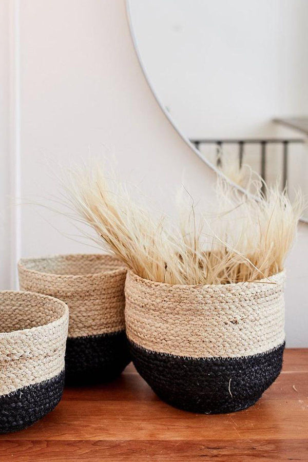 Naiya Handwoven Jute Colorblock Baskets (Set of 3)