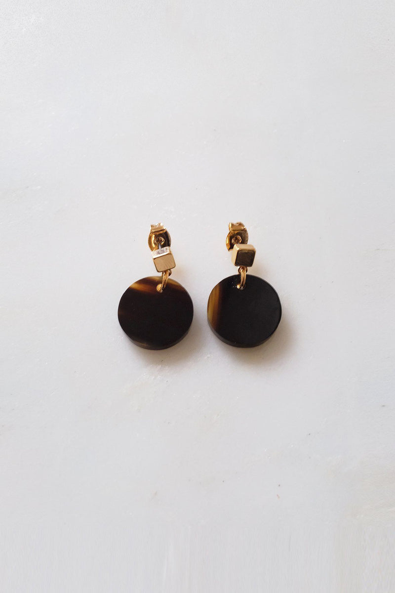 Nho Be Circle Buffalo Horn Stud Dangle Earrings - Handcrafted & Unique Buffalo Horn Jewelry