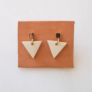 Nho Be Triangle Buffalo Horn Stud Dangle Earrings