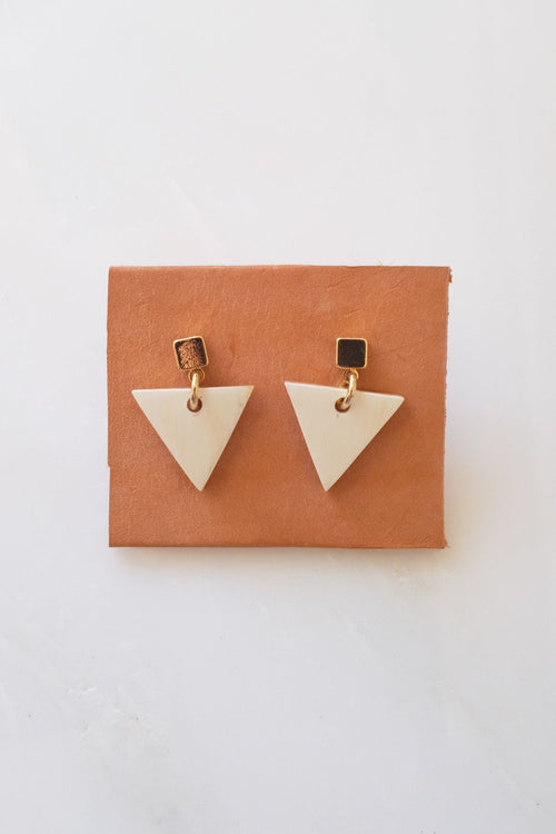 Nho Be Triangle Buffalo Horn Stud Dangle Earrings - Handcrafted & Unique Buffalo Horn Jewelry
