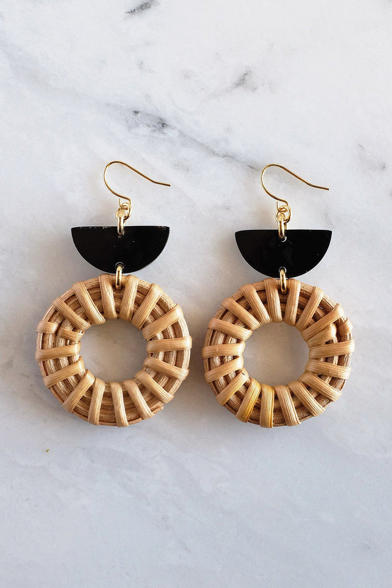 Ninh Binh 16K Gold Plated Brass Honey Horn & Rattan (Straw/Wicker) Crescent & Donut Earrings - Handcrafted & Unique Buffalo Horn Jewelry