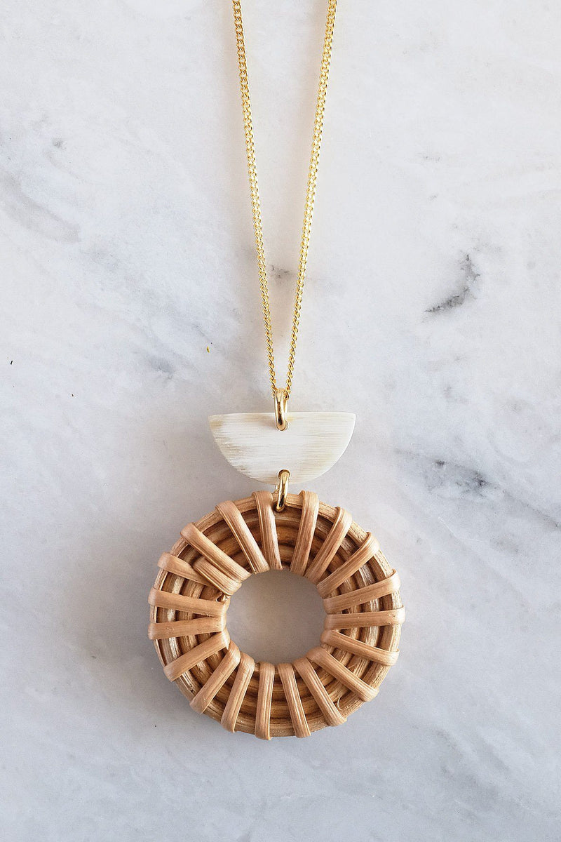Ninh Binh Crescent Horn & Donut Rattan (Straw/Wicker) Pendant Necklace - Handcrafted & Unique Buffalo Horn Jewelry