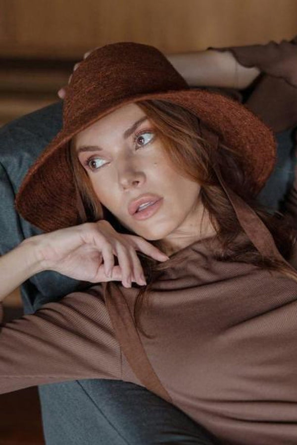 Meg Burnt Sienna Handwoven Jute Straw Hat