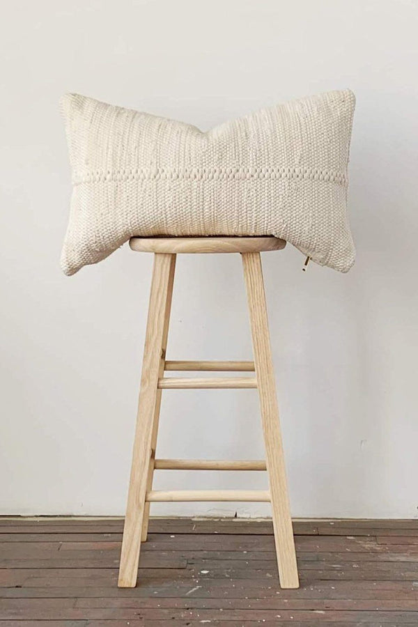 Chindi Handwoven Cotton Lumbar Pillow - Heavy Cream