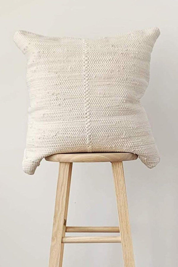 Chindi Handwoven Cotton Pillow - Heavy Cream