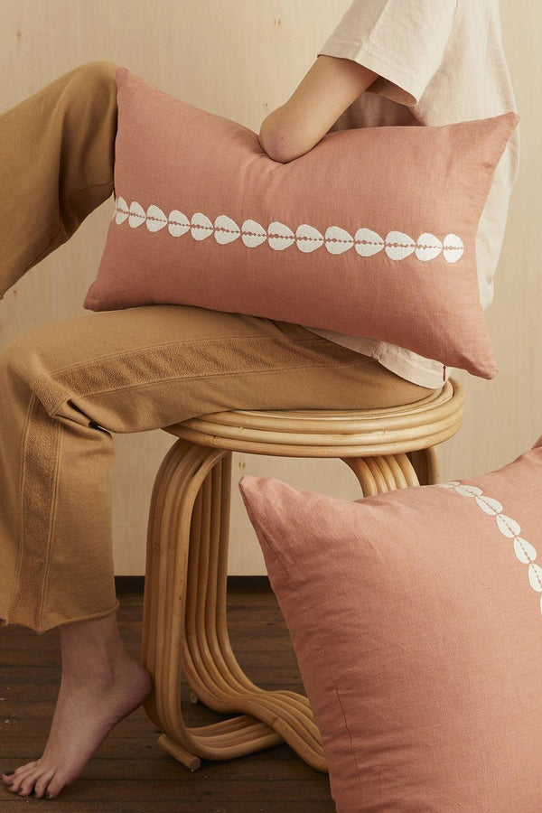 Cowrie Embroidered Linen Lumbar Pillow - Sandalwood