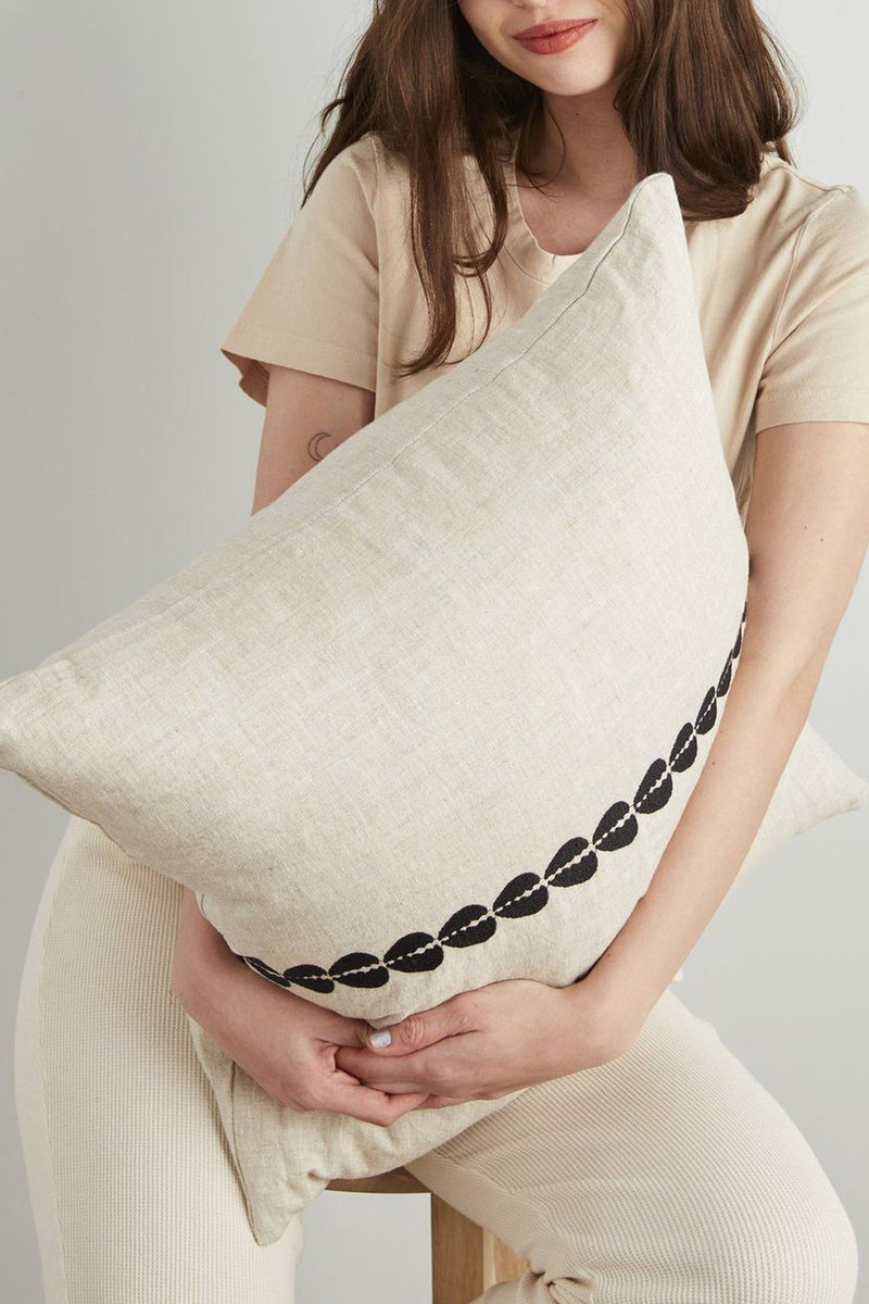 Cowrie Embroidered Linen Pillow - Natural