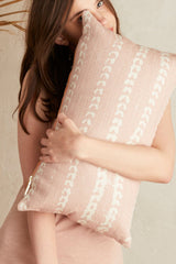 Vines Linen & Cotton Lumbar Pillow - Blush
