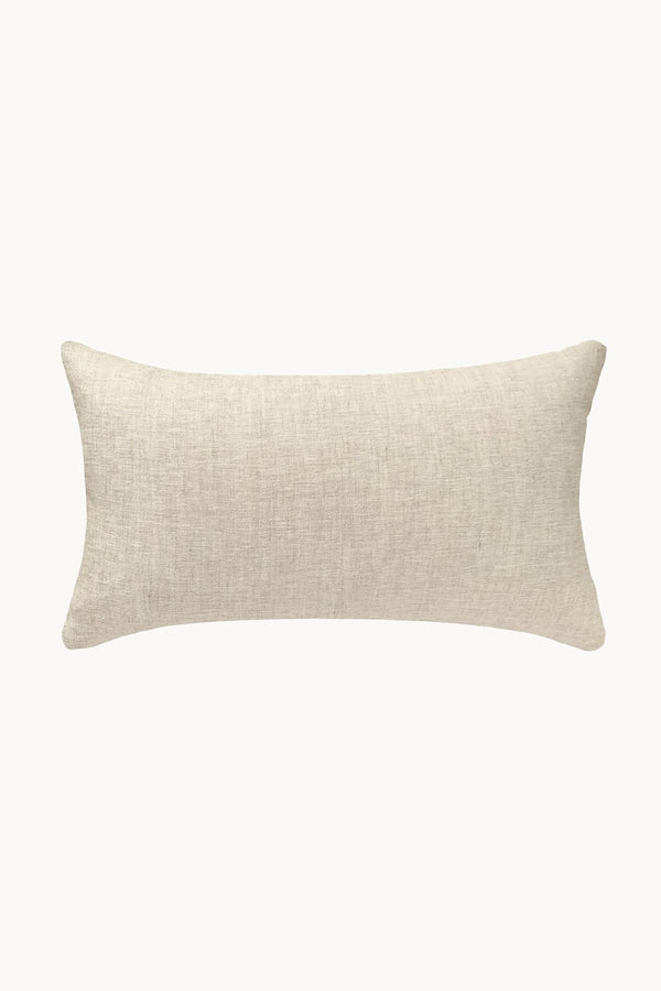 Cowrie Embroidered Linen Lumbar Pillow - Natural