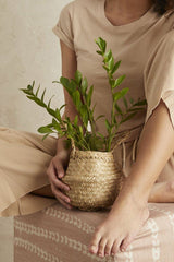 Small Handwoven Seagrass Tabletop Belly Basket