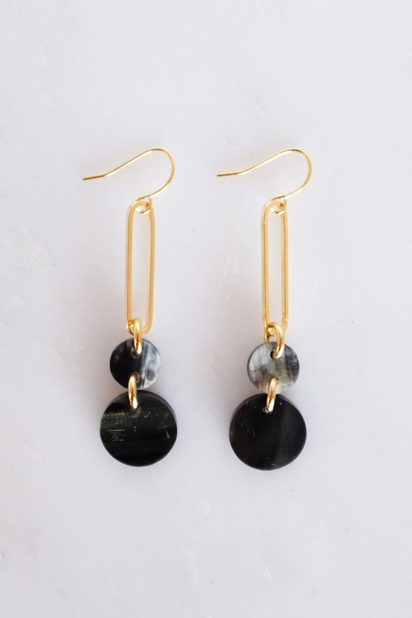 Sa Dec Circular Drop Buffalo Horn Dangle Earrings - Handcrafted & Unique Buffalo Horn Jewelry