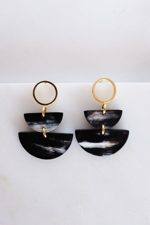 Saigon II Geo Buffalo Horn Post Dangle Earrings - Handcrafted & Unique Buffalo Horn Jewelry