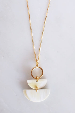 Hanoi Crescent Stacked Buffalo Horn Pendant Necklace