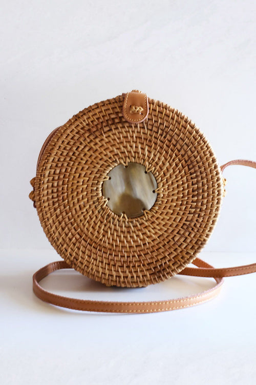 Tan Tien Buffalo Horn Centerpiece Circle Wicker Rattan Bag - Handcrafted & Unique Buffalo Horn Jewelry