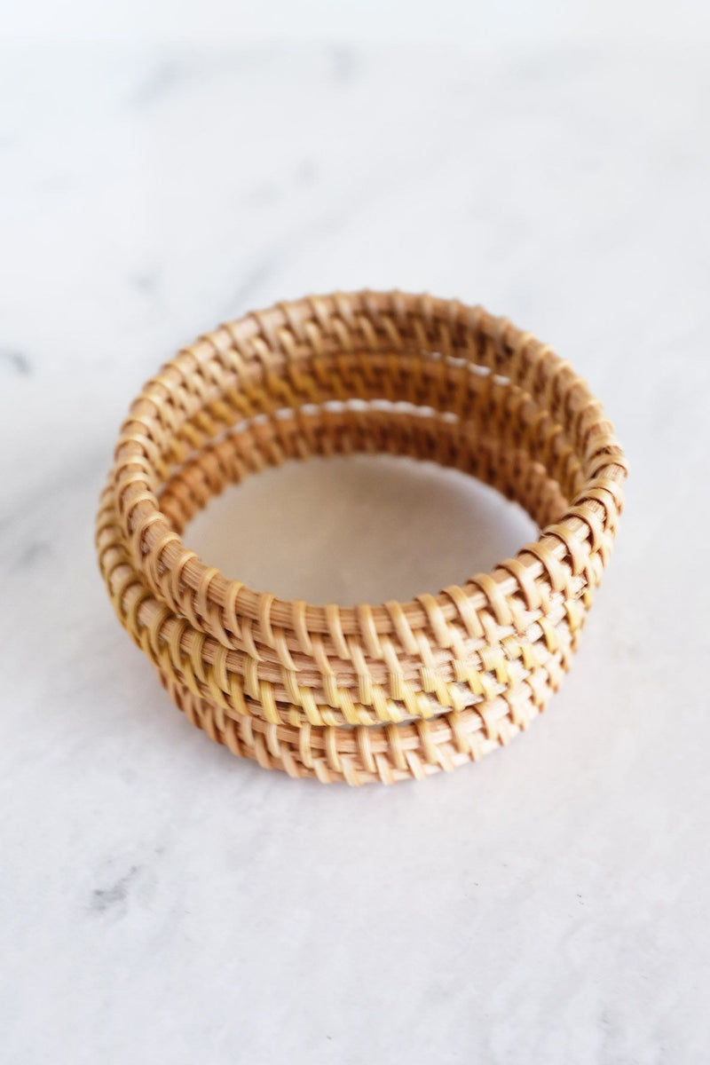 Thien Natural Handwoven Rattan Bangle Bracelet (3pcs) - Handcrafted & Unique Buffalo Horn Jewelry