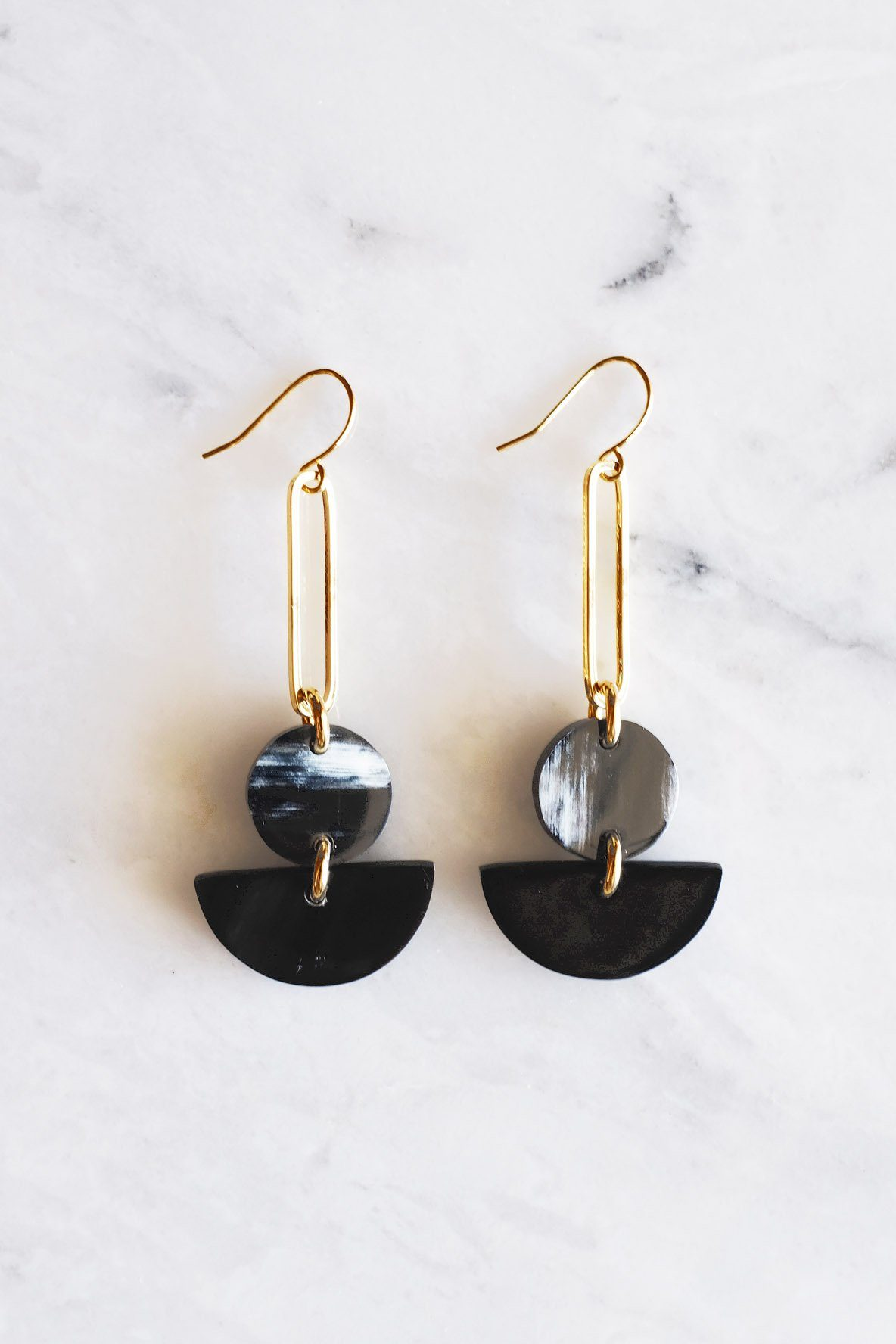 Tho Bar & Geo Buffalo Horn Earrings