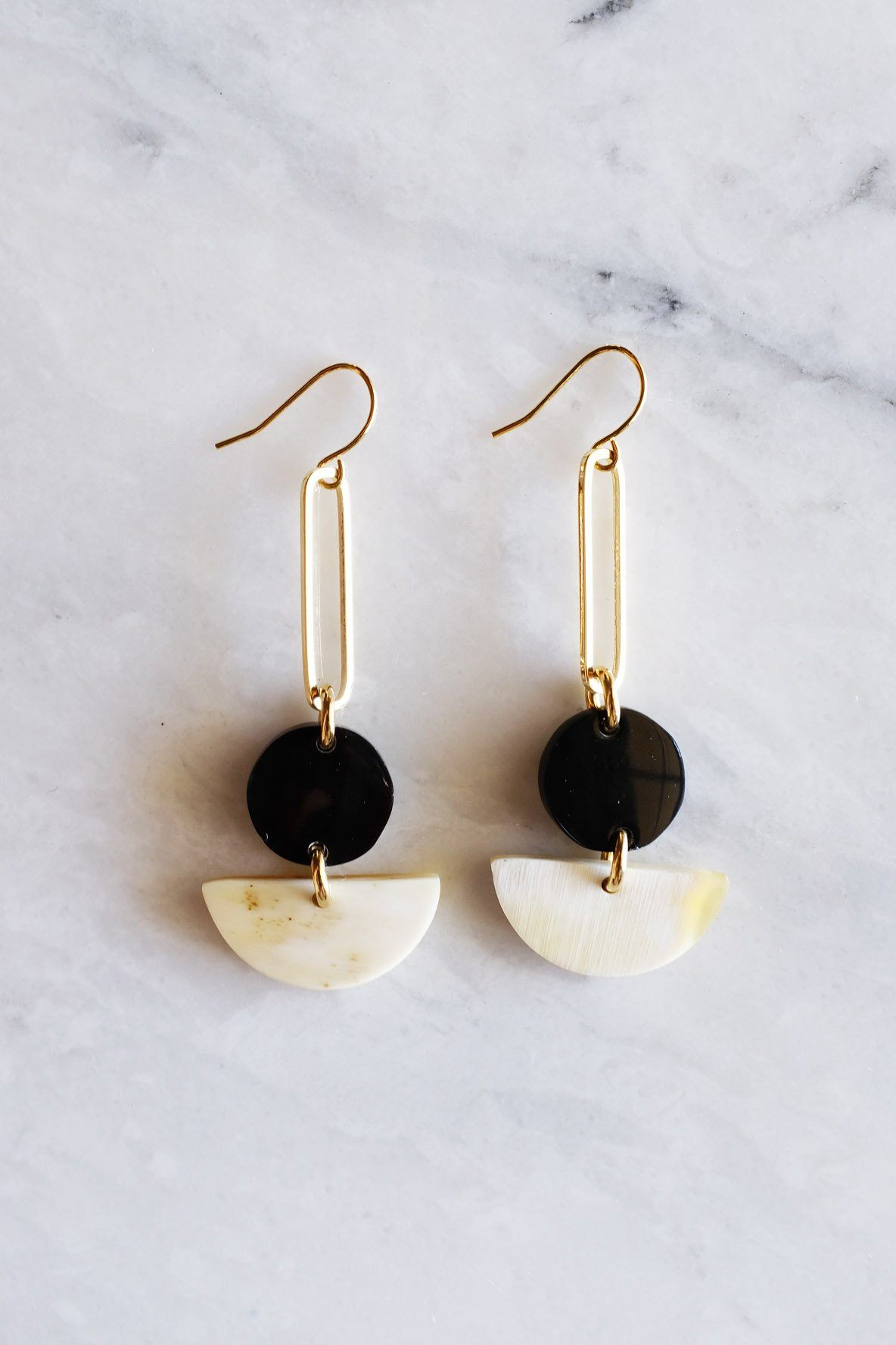 Tho Bar & Geo Buffalo Horn Earrings - Handcrafted & Unique Buffalo Horn Jewelry