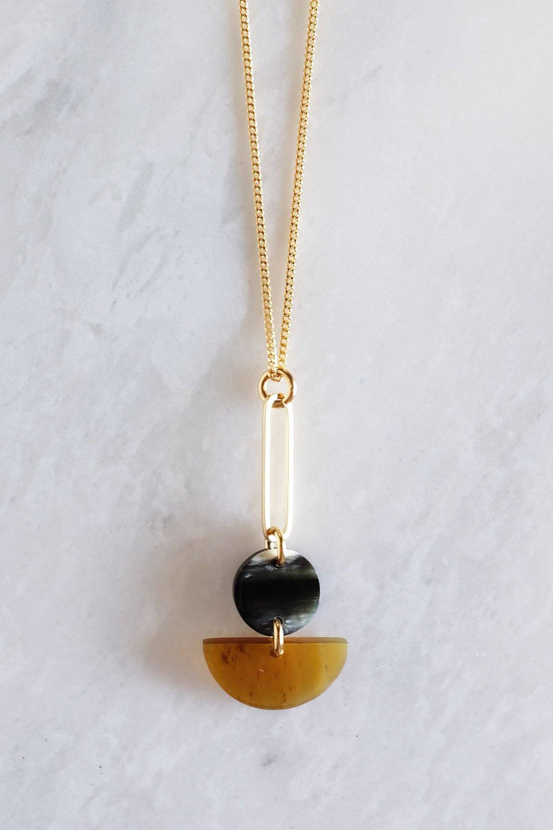 Tho Bar & Geo Buffalo Horn Pendant Necklace - Handcrafted & Unique Buffalo Horn Jewelry