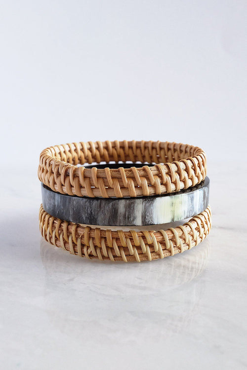 Thuy Binh Buffalo Horn & Handwoven Rattan Bangle Bracelets (3pcs) - Handcrafted & Unique Buffalo Horn Jewelry