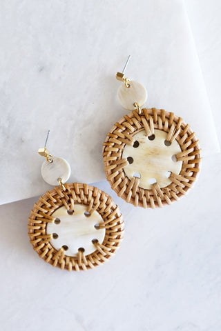 Nam Dinh 16K Gold Plated Natural Rattan (Straw/Wicker) & Black - White Flecks Buffalo Horns Earrings
